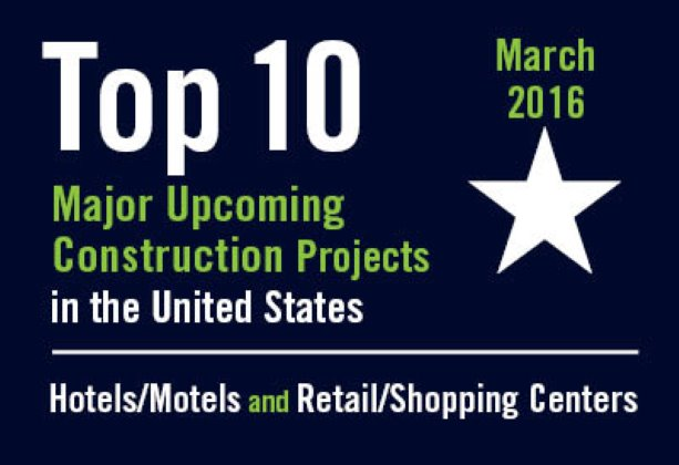 Twenty major upcoming Hotel/Motel and Retail/Shopping Center construction projects - U.S. - March 2016