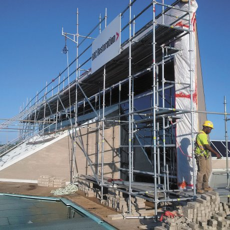 Complex restoration requires specialized scaffold system