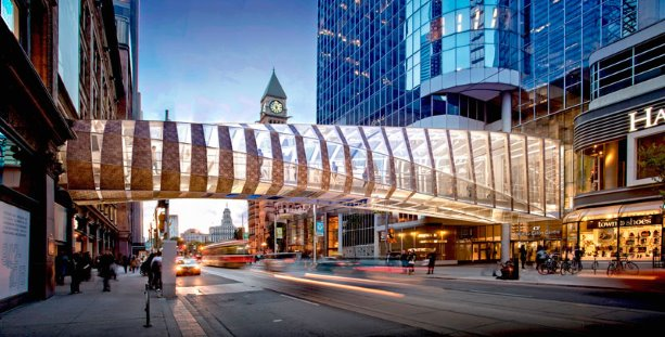 Toronto eaton centre pedestrian bridge design unveiled for Design consulting toronto