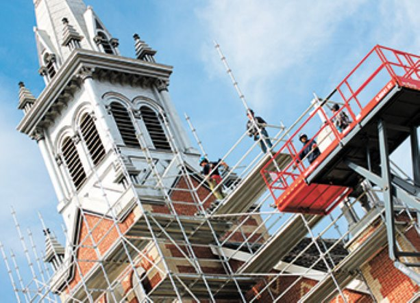 Historic church renovation reaches new heights