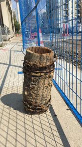 A more than 100-year-old wooden pipe was discovered recently by Calgary construction crews working on 17th Ave SW. Wooden pipes were in use in the city until the 1910s when they were replaced by cast iron pipes.