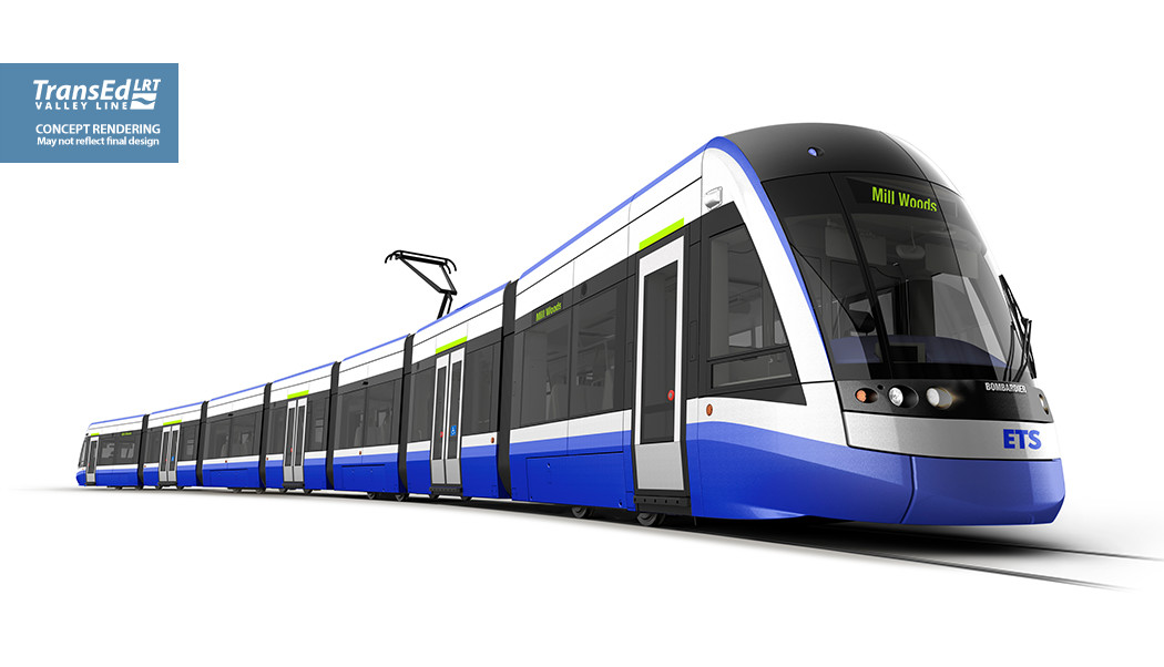 A rendering shows the general design for the low-floor style trains planned for use with the Valley Line train system in Edmonton.