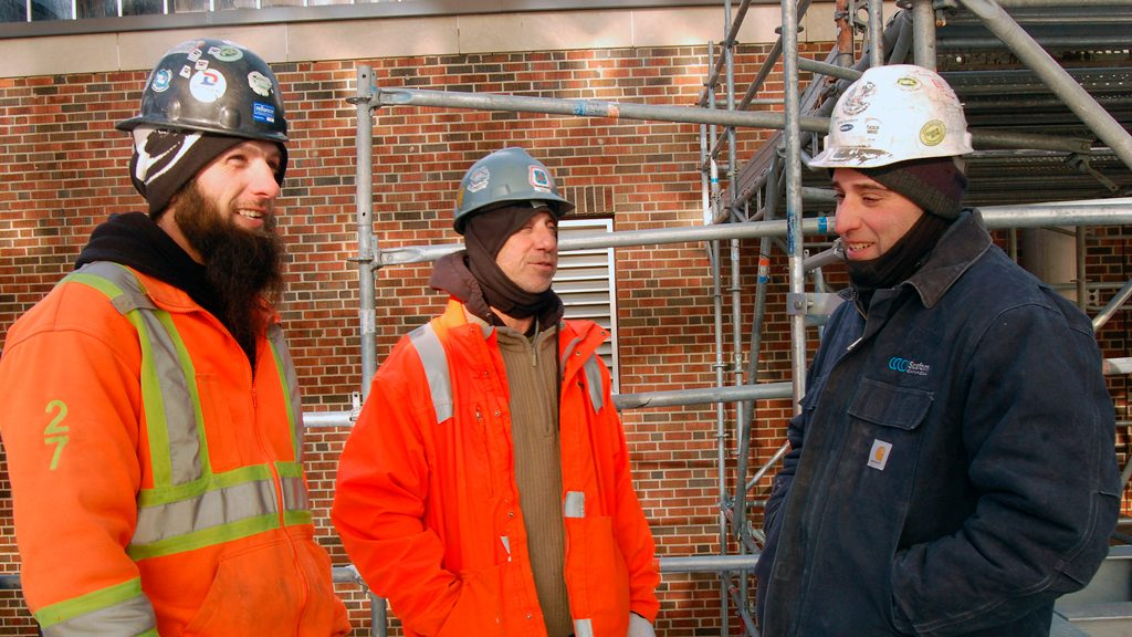 Erecting scaffolding requires extra care in extreme cold
