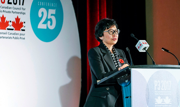 New Canada Infrastructure Bank (CIB) chair Janice Fukakusa spoke to delegates attending the Canadian Council for Public-Private Partnerships conference in Toronto in November about the CIB and its role.