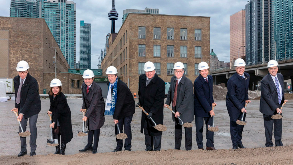 Stakeholders and officials recently attended the Sugar Wharf groundbreaking. From left to right: Menkes president low-rise residential division Steven Menkes; Ward 28 councillor Lucy Troisi; Menkes president highrise residential division Alan Menkes; Toronto Mayor John Tory; Ontario Finance Minister Charles Sousa; LCBO president and CEO George Soleas; Menkes president, commercial/industrial division Peter Menkes; Greystone Managed Investments managing director and CIO Ted Welter; and Triovest CEO Vince Brown.