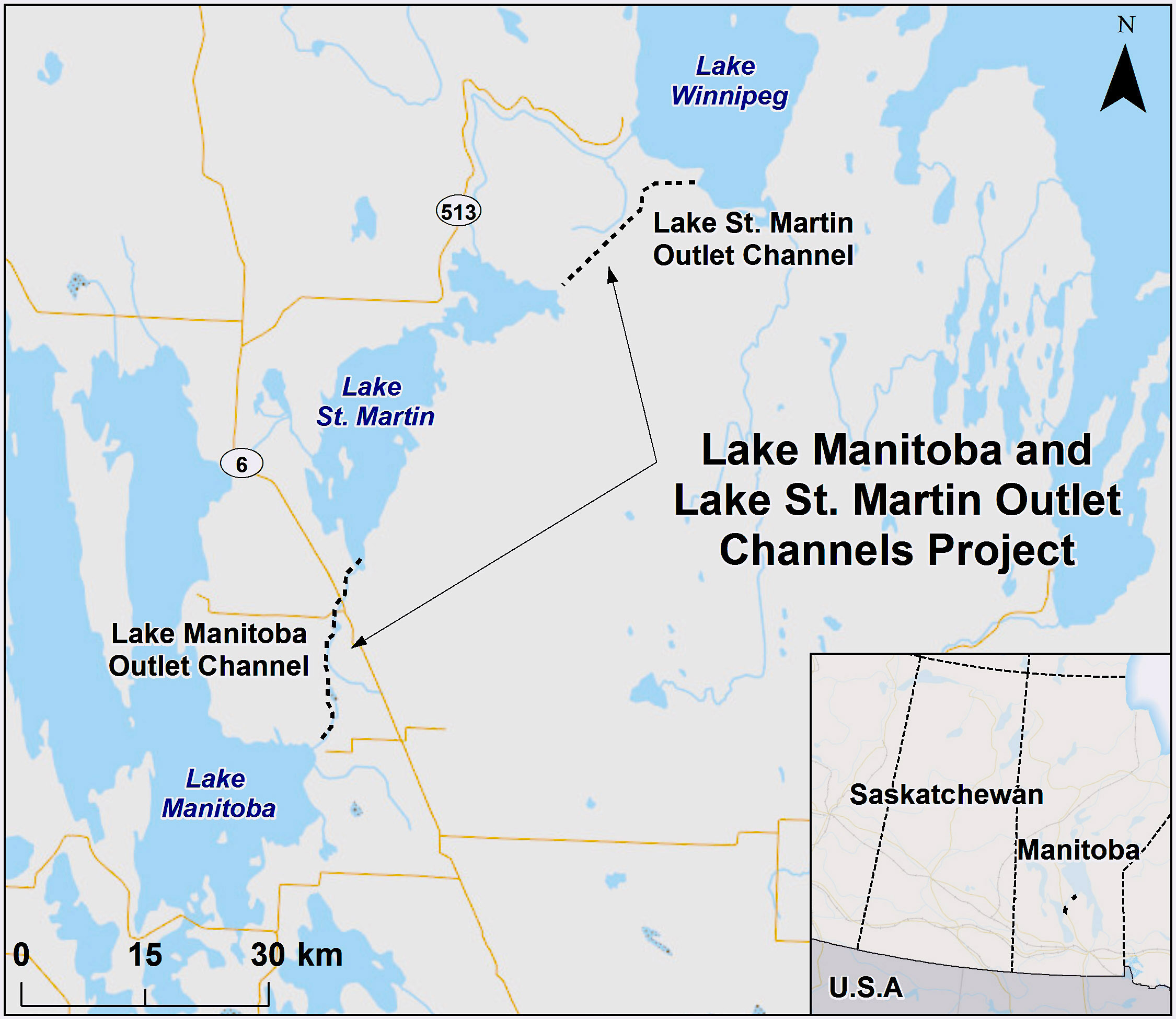 This map shows the location of the proposed Lake Manitoba and Lake St. Martin Outlet Channels Project.