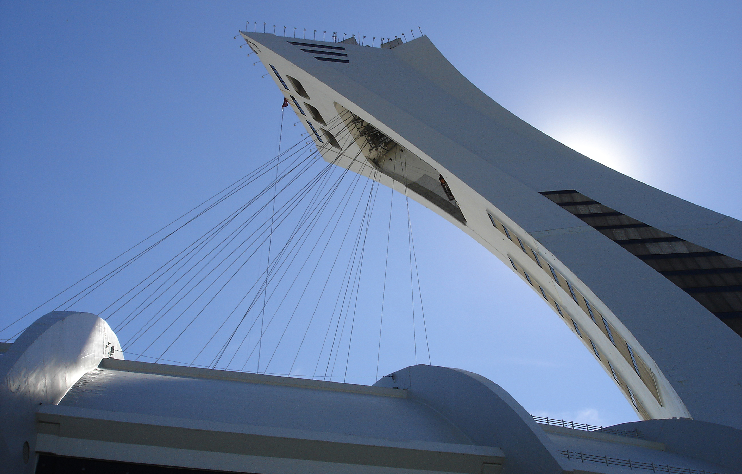 Pictured is a backlit view of the tower of the Montreal Olympic Stadium. Pomerleau BIM-VDC director Ivanka Iordanova says recent modifications to the Olympic Tower are an an example of a BIM project that couldn't have been completed otherwise.