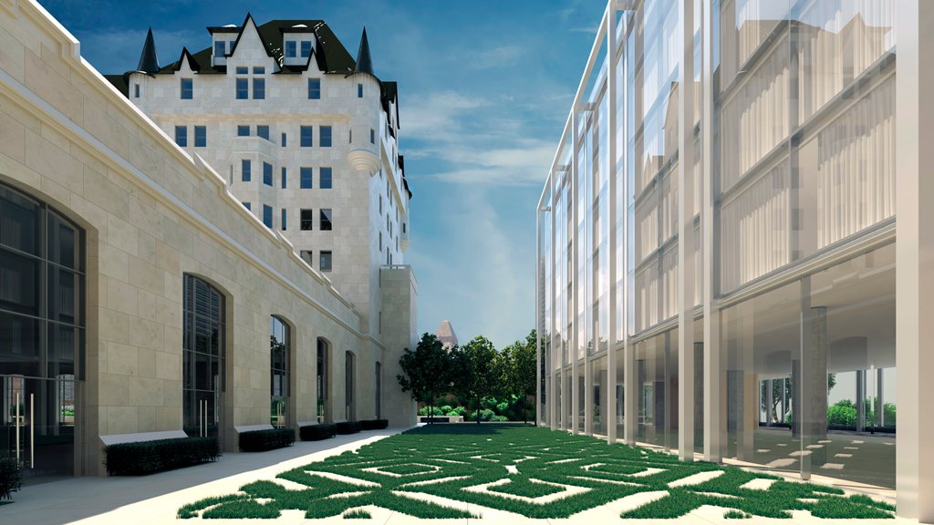 Plans for an addition to Ottawa's Chateau Laurier released Feb. 8 called for ballroom windows of the chateau to be transformed into huge doors leading into a signature interior courtyard as well as a green roof on the addition and new landscaped gardens.