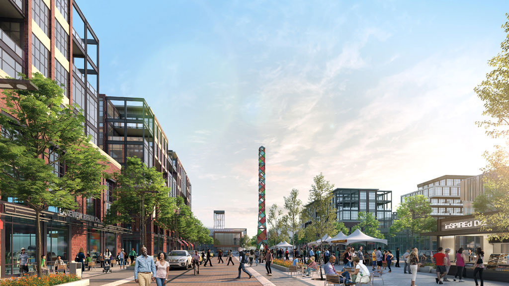 Serson Square is envisioned as a central gathering place with year-round programming and retail, office and residential spaces.