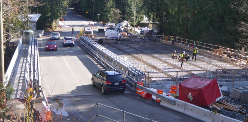 Temporary Acrow Bridge allows access during construction in North Vancouver