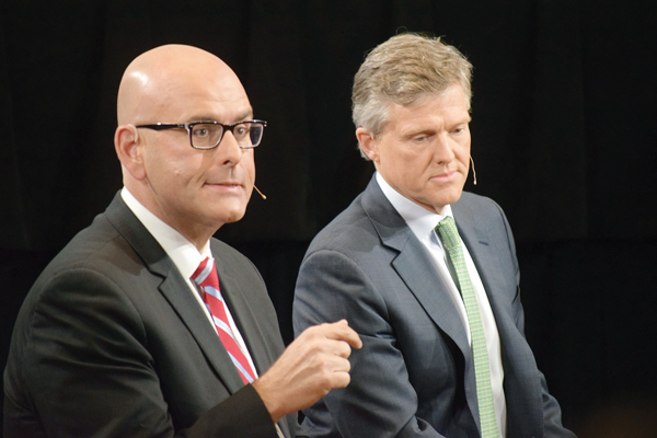 Liberal cabinet minister Steven Del Duca exchanged barbs with Progressive Conservative candidate Rod Phillips over PC costing of its platform