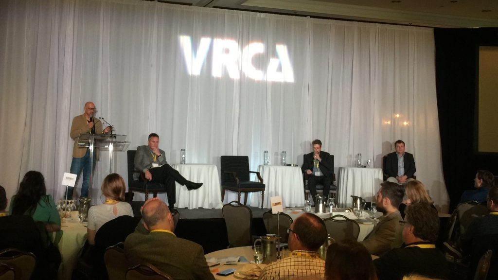 A panel of experts discussed the complicated issues surrounding impending cannabis legalization and the workplace at the Vancouver Regional Construction Association's recent Construction Leadership Forum in Whistler, B.C. From left to right: Greenleaf Medical Clinics CEO DR. Zeid Mohamedali, BC Trucking Association president and CEO Dave Earle, WorkSafeBC director of prevention practices and quality Tom BrockleHurst and Roper Greyell LLP founding partner Graeme McFarlane.