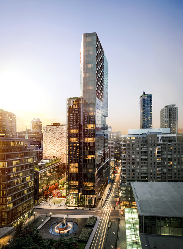 The $200-million Humaniti condo project will be built in an area bordered by Viger, de Bleury, de la Gauchetiere and Hermine streets in Montreal and will be the final component of the Quartier international project.