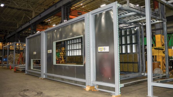 """Modular plenums for the Mackenzie Vaughan Hospital in Vaughan, Ont. are being fabricated in the PCL Agile plant in Etobicoke, Ont. The plenums, referred to as the """"lungs"""" of the hospital, will push air in and take air out of the building."""