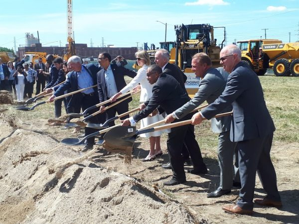 Dignitaries at official groundbreaking at the Detroit port of entry site for the Gordie Howe International Bridge project in Delray, Mich.