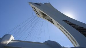 Greenpeace members climbing Olympic Stadium tower in Montreal