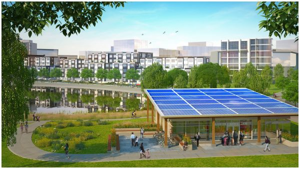 The Blatchford development in Edmonton plans to use a centralized District Energy Sharing System, which will consist of a geoexchange field system that essentially makes use of shallow geothermal energy from the ground for heating and cooling. Construction of the first energy centre is underway, facilitating the development of the first set of homes in west Blatchford in 2019. Pictured is a geoexchange centre.