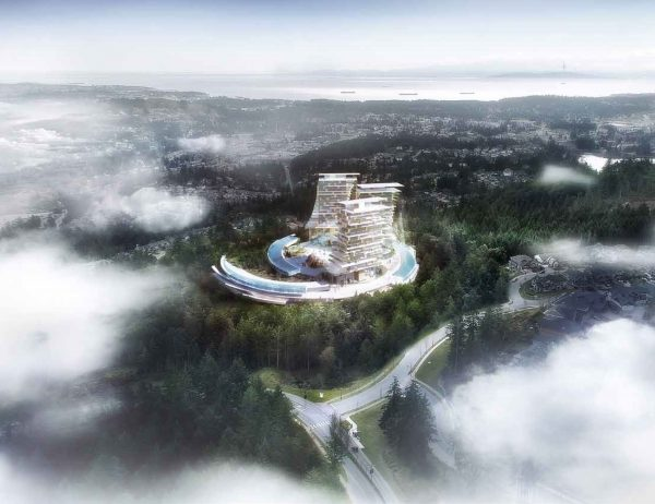 The proposed eco resort, designed by Arno Matis Architecture, will be located on an already existing golf course resort on Bear Mountain in Langford on Vancouver Island. Using computer modelling and local climate simulation, the resort will provide light and warmth during the shoulder season to encourage travellers to stay in Canada rather than going to traditional warmer destinations.