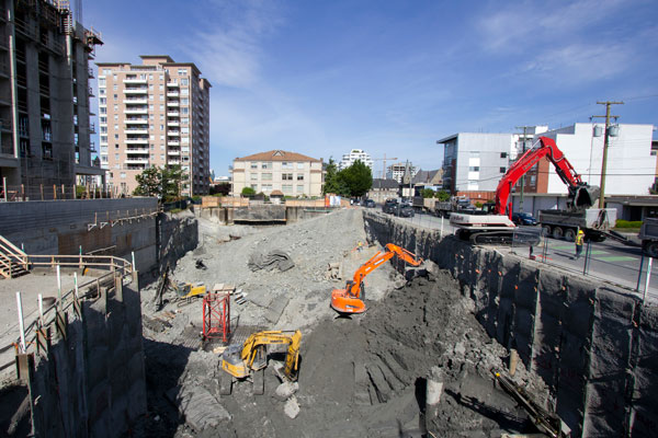 The Vancouver Island Construction Association states that Nanaimo saw the highest amount of construction activity with a 48 per cent increase in building permits, followed by the Capital Regional District with a 47 per cent increase. Projects on the go include excavation work on 989 Johnson St.