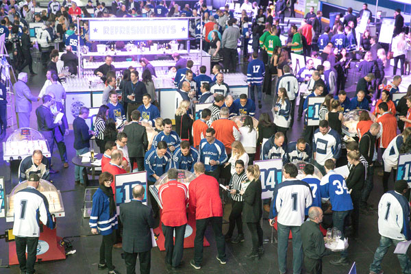 The SickKids Foundation is heavily involved in fundraising for the Hospital for Sick Children building campaign. Pictured, the Bubble Hockey Night for SickKids in February raised $290,000 for the foundation.