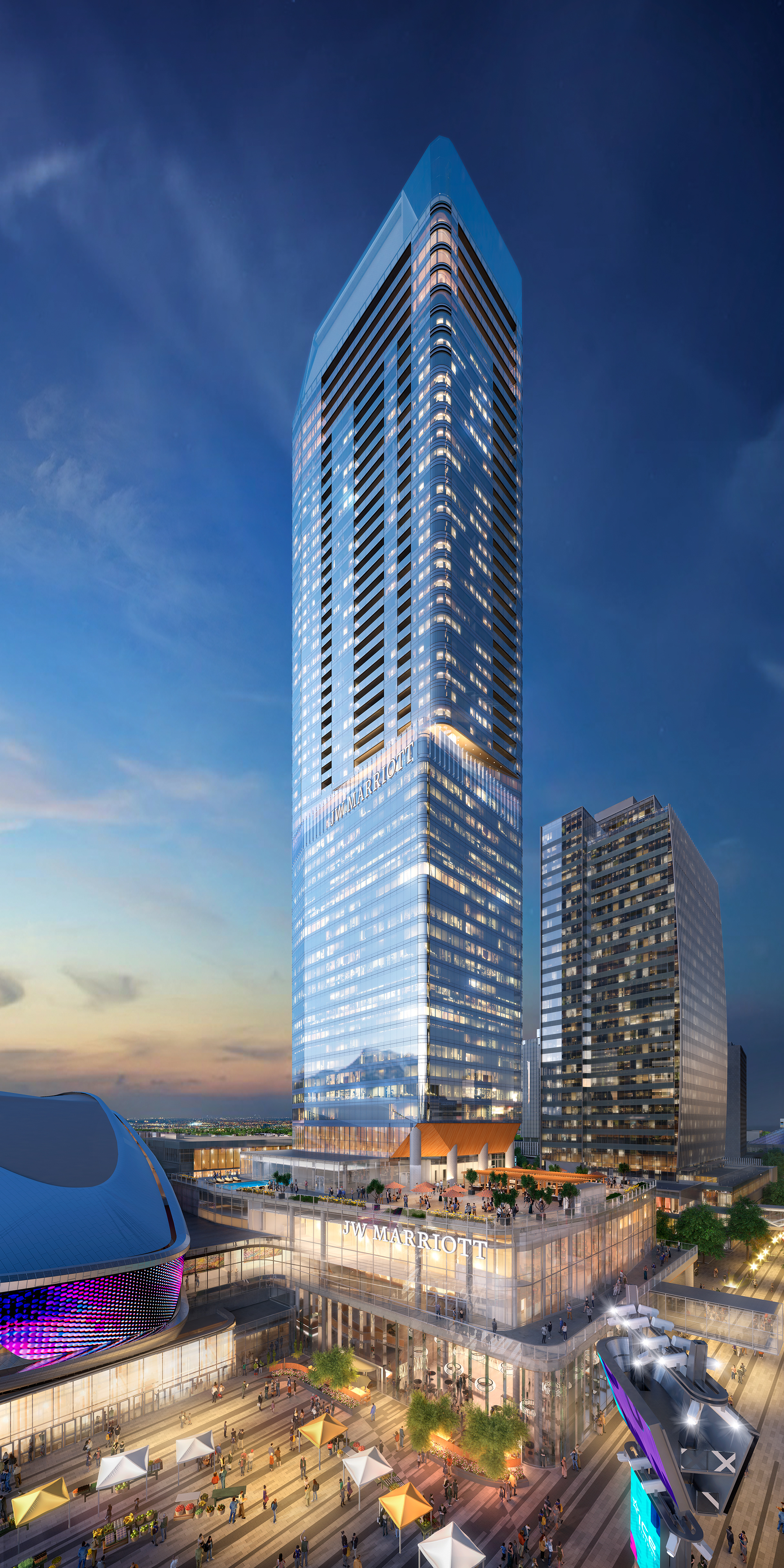 A rendering shows what Edmonton's Stantec tower will look like when complete next year. The 69-storey tower is now partially open.