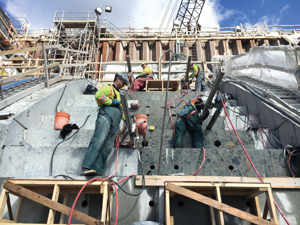 The $800-million upgrade of BC Hydro's Ruskin Dam Spillway was a large and complex project for all involved. The dam measures 110 metres long and 59 metres tall. Over 20 million pounds of concrete were removed during the upgrade.