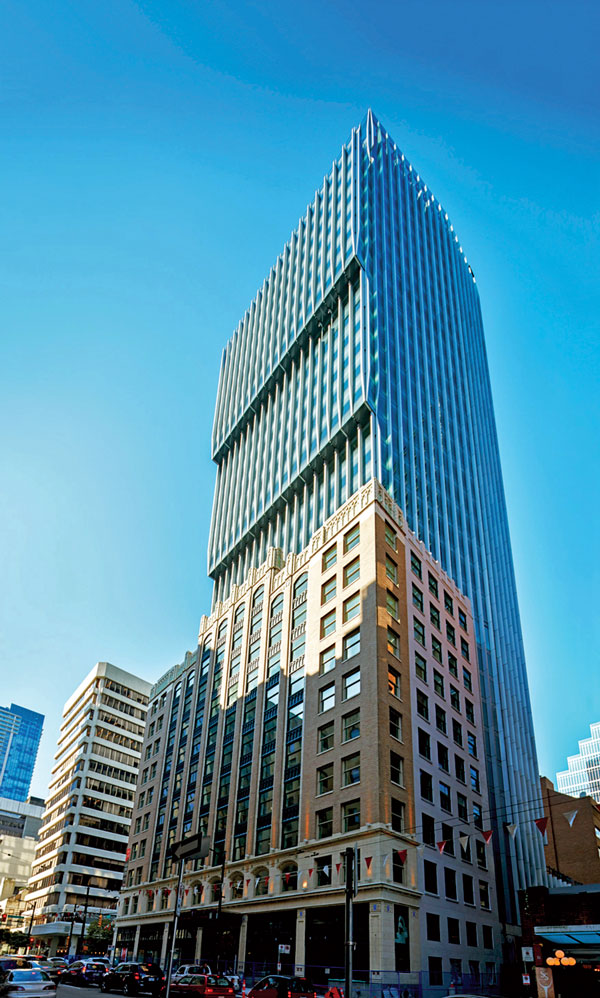 Vancouver CPA firm Smythe LLP is moving into three floors of the restored Stock Exchange Building portion of The Exchange project, a 31-storey office tower and heritage conversion built to LEED Platinum standards in downtown Vancouver.