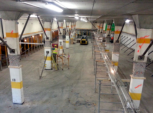 Repair methodologies used to extend the life of the parking garage at the Harborview Apartments in Halifax required multi-level slab replacement. One of the challenges was temporary shoring was required during construction to support superstructure loads.