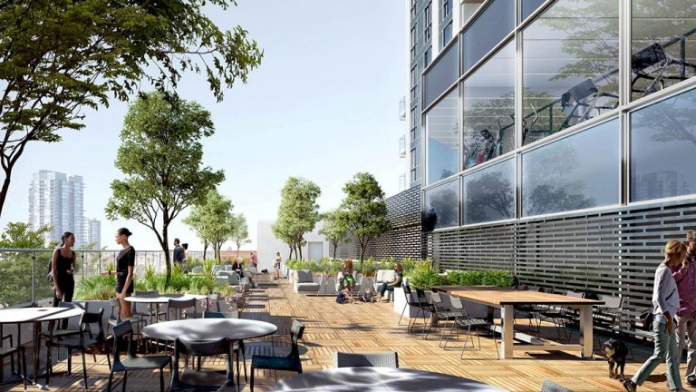 A rooftop residents' terrace is one of the amenities planned at the DTK condo development in downtown Kitchener, Ont. Excavation is slated to get underway in the new year. The 39-storey tower is being built by Waterloo-based IN8 Developments.