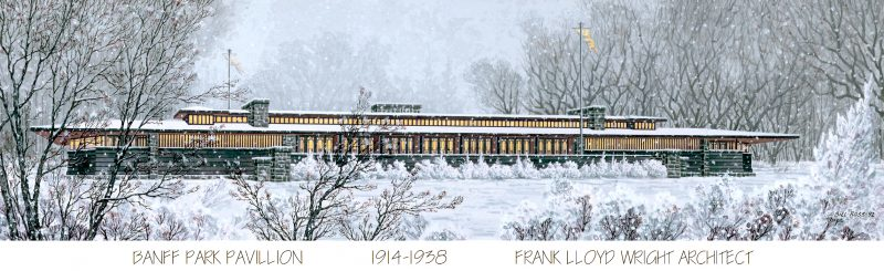 An illustration shows what Frank Lloyd Wright's Banff Park Pavilion might have looked like during an Alberta winter.