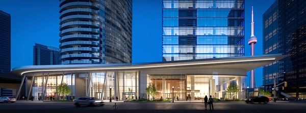 The lobby of the 16 York office tower in downtown Toronto will have a 35-foot wraparound glass lobby that will be exposed to the east, north and west sides.