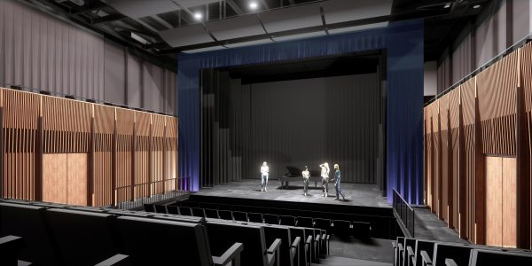 The new Calgary Opera Community Arts Centre will include a 400-seat performance/rehearsal hall. Pictured is a view from the audience.