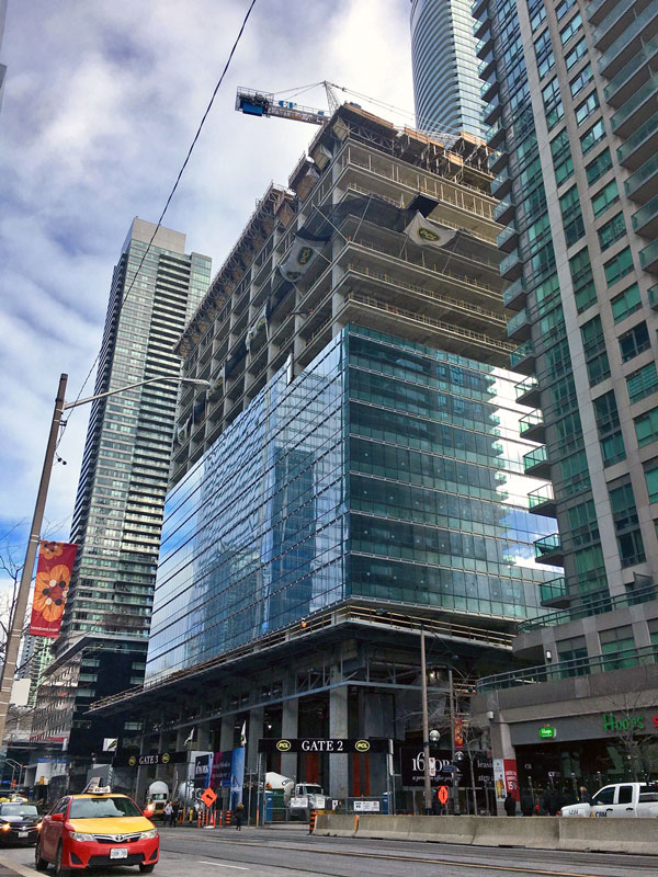 16 York is owned by Cadillac Fairview and the Ontario Pension Board. The architects on the project are architectsAlliance and B+H Architects, PCL Constructors Canada is the builder and The Mitchell Partnership is the engineer. Partners on the project include Harris Rebar, Alliance Forming, York Marble, Plan Group, Modern Niagara, Integro Systems, Thyssen-Krupp Elevators, Walters Group, Tagg industries, Bothwell-Accurate and Anco Contracting.