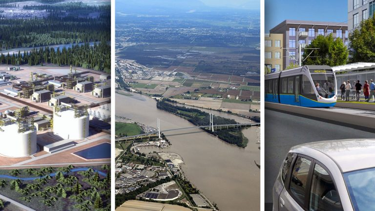 Construction industry stakeholders are expressing frustration and concern with the number of projects in British Columbia that are facing challenges getting off the ground or have been cancelled altogether. For example, a proposed bridge that would have replaced the aging George Massey Tunnel was scrapped in favour of a smaller crossing and improvements to the existing tunnel; a rendering shows what light rail transit would have looked like in Surrey, but that project was scrapped by the city and the Mayors' Council in favour of a SkyTrain extension; and the Kitimat LNG project made headlines recently as protestors and the RCMP clashed at the site where a pipeline carrying natural gas from the Dawson Creek area to Kitimat was to get underway.