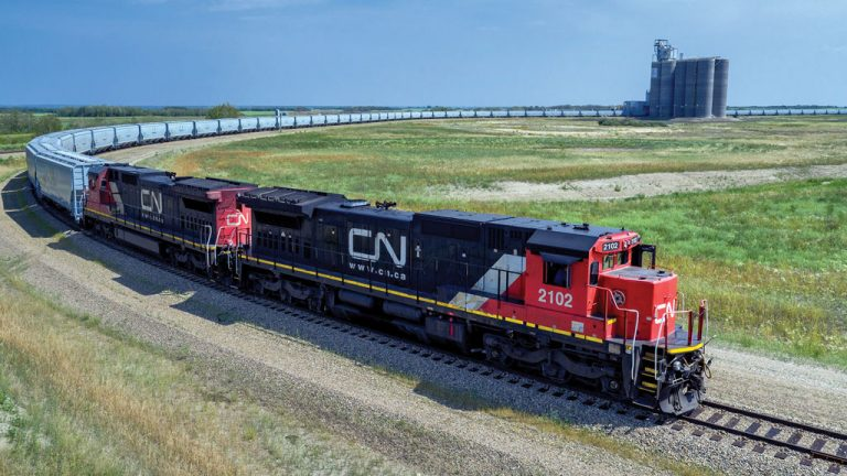Loop tracks, which speed up loading of railroad cars by never halting the train's movement, are starting to appear at grain terminals such as GrainsConnect's facility in Maymont, Sask.