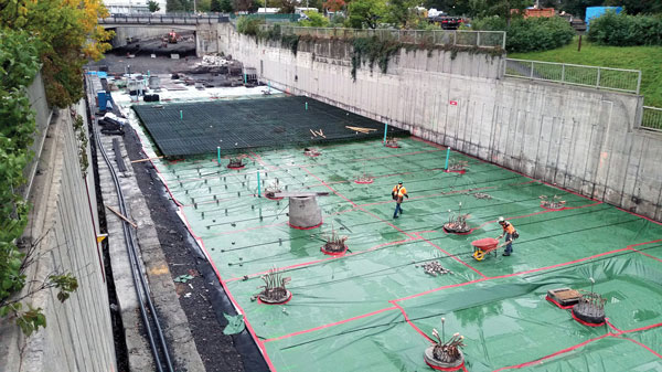 Crews installed rebar for the raft slab at Lees station in 2016 as part of phase one of Ottawa's LRT line.