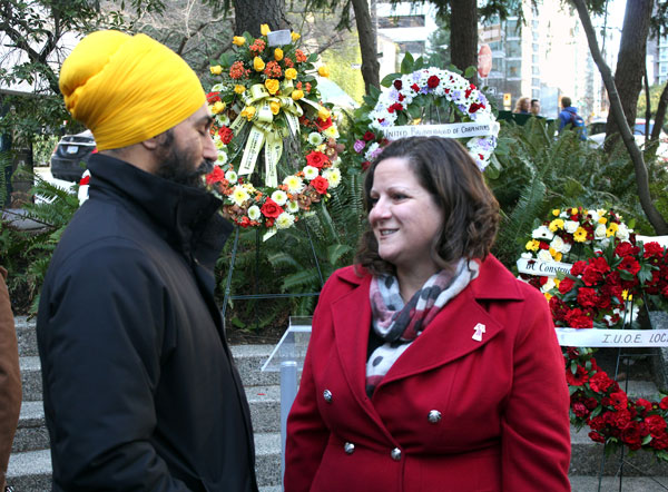 Federal NDP Leader Jagmeet Singh (left) and BC Federation of Labour treasurer and secretary Sussanne Skidmore were among those attending the Bentall IV memorial on Jan 7.