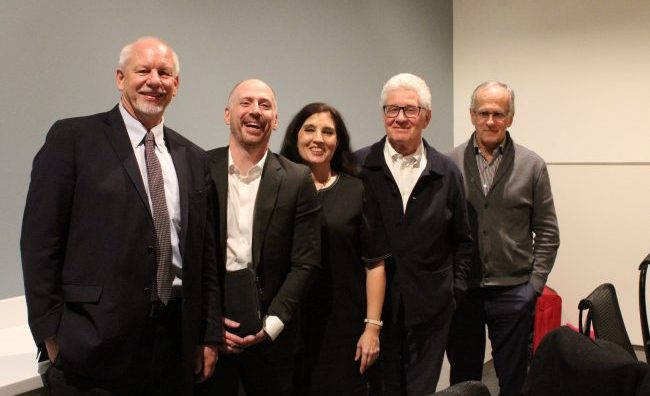 Diamond Schmitt Architects in association with New London Architecture recently held a transatlantic seminar at the Emily Carr University of Art and Design on sustainability initiatives in both cities. The Vancouver panel consisted, from left to right, of City of Vancouver general manager of planning, urban design and sustainability Gil Kelley, Concert Properties chief sustainability officer Dave Ramslie, author and journalist Hadani Ditmars, Diamond Schmitt Architects principal Don Schmitt and Fast + Epp founder Paul Fast.