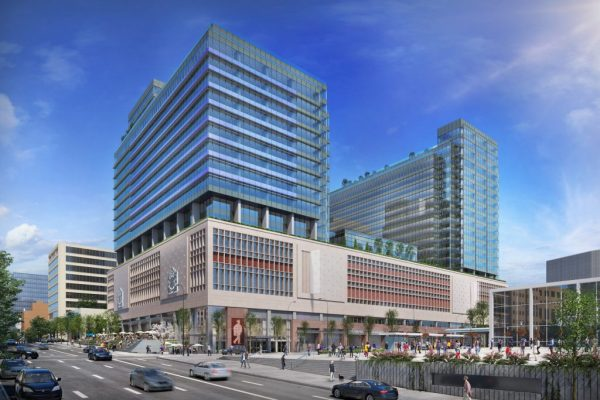 The Post, formerly downtown Vancouver's Canada Post building, is being revamped by QuadReal Property Group into an office building and retail hub featuring Amazon as a key tenant and a Loblaws CityMarket grocery store at its base. The project is estimated for phased completion between fall 2022 and fall 2023.
