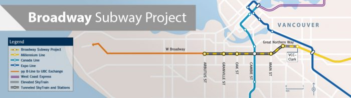 A map shows the route of the planned Broadway Subway project in downtown Vancouver, B.C. Work on the project is expected to begin next year and wrap up in 2025.