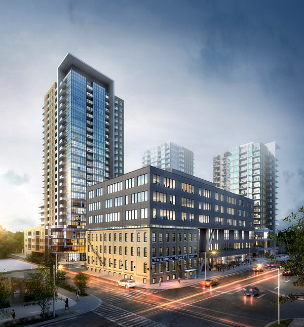 The former century-old Huck Glove factory, seen in the foreground, has been incorporated by Edge Architects in the design of an office complex at 120 Victoria St. S. in downtown Kitchener, Ont. Three condo towers, designed by ABA Architects, will also be constructed on the site.