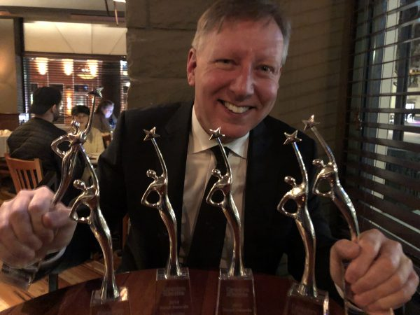 Independent Contractors and Businesses Association president Chris Gardner celebrates after the association wins Reed awards, including North American Trade Association of the Year.