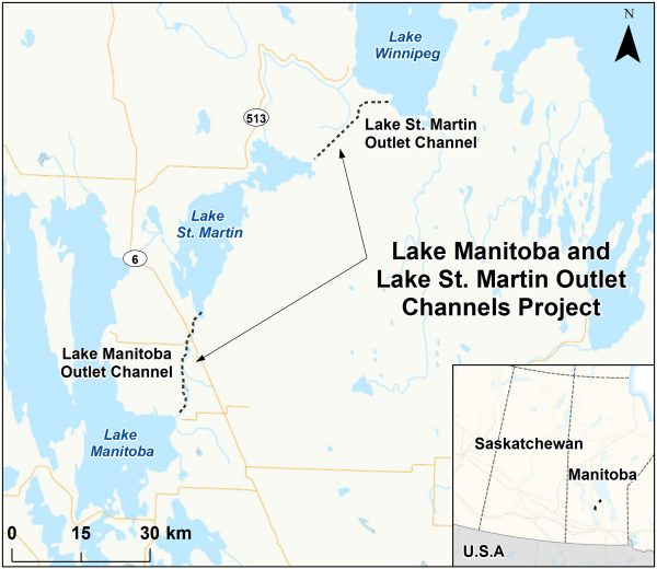 A map shows the route for the Lake St. Martin channel control project. The Manitoba 2019 budget allocates $35 million for the project which was designed following devastating floods in 2011.