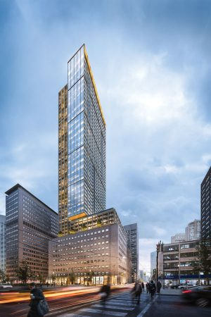 The proposed United Building development at 481 University Ave. in downtown Toronto will include a mix of commercial and retail space as well as a contemporary 45-storey condominium tower. The existing heritage structure on the site will be restored as part of the project. The developer is Toronto-headquartered Davpart Inc.