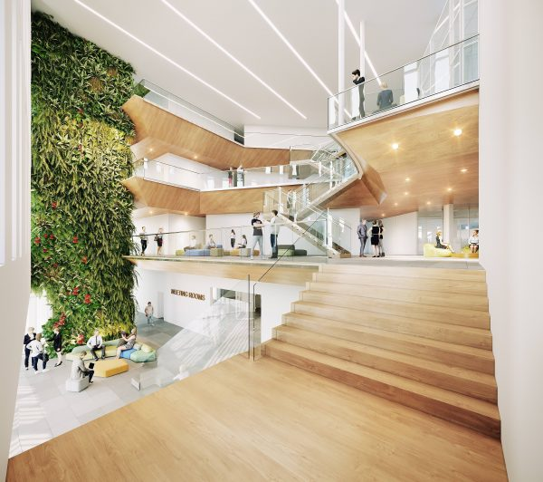 A rendering shows what the interior of the new, $50-million AUPE headquarters in Edmonton will look like.