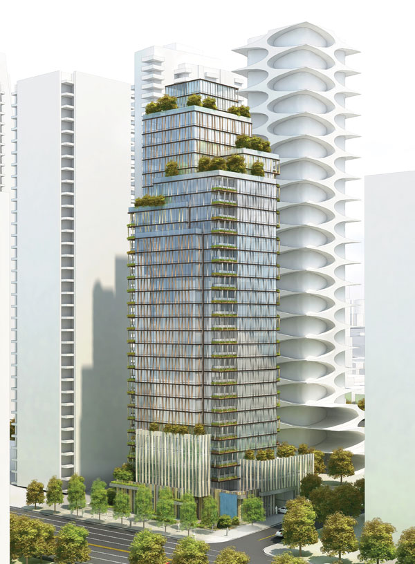 The proposal calls for a tower with 127 units, 213 vehicle parking spaces and 335 bike stalls.  Two design teams are working on the project, Vancouver-based Chris Dikeakos Architects, which designed the tallest residential highrises in San Diego and Los Angeles, and Kohn Pedersen Fox of New York City, whose projects include the world's tallest towers.