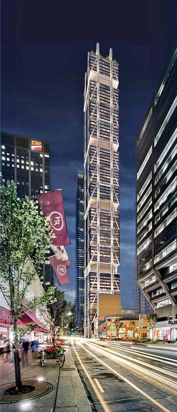 The first Andaz brand hotel in Toronto, by Mizrahi Developments and Hyatt, will open at The One on Bloor Street in 2022. The hotel will occupy floors four to 16 of the tower, which is slated to be the tallest mixed-use commercial and residential tower in the city.