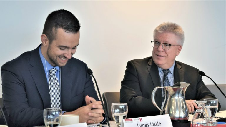 Construction lawyers James Little (left) and Bruce Reynolds share a light moment during a discussion of the ramifications of adjudication decisions at a recent Osgoode Professional Development panel session held in Toronto.
