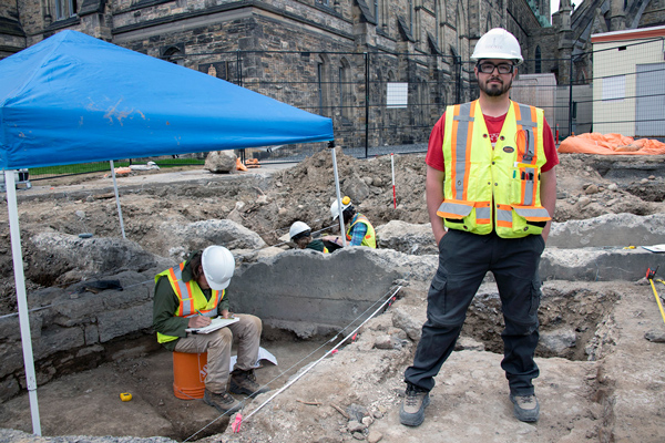 Stephen Jarrett, archeological project manager at Centrus, at the dig on Parliament Hill.