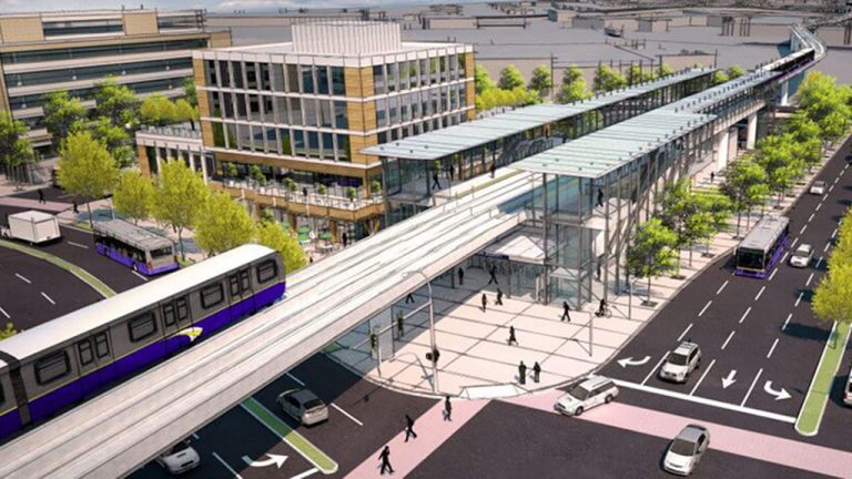 A rendering shows what one of the SkyTrain stations would look like if the system was extended to Langley. TransLink recently released their preliminary business case findings for the project and are looking to investigate it further.